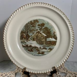 HTF Harkerware Currier & Ives Cake Plate
